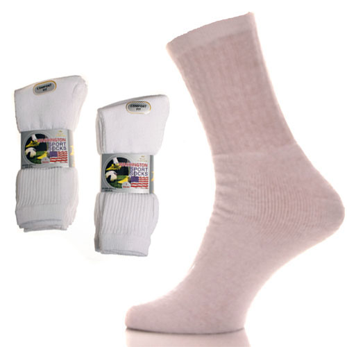 Mens Washington Sport Socks Plain White 3 Pack