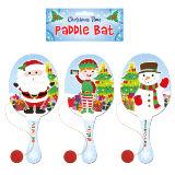 Wooden Paddle Bat And Ball - Christmas