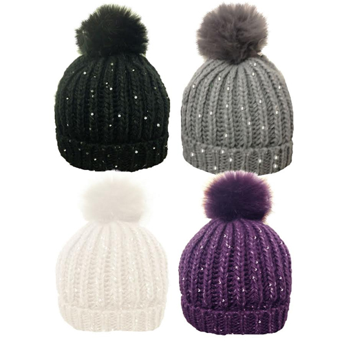 Ladies Ribbed Hat with Sequin & Solid Faux Fur Bobble