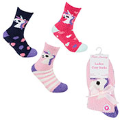 Ladies Cosy Socks With Grippers Unicorn