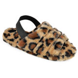 Ladies Quilted Back Strap Leopard Mule Slippers