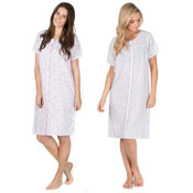 Short Sleeved Button Through Poly Cotton Nightie