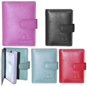 Leather Card Holder Wallet Button Flap