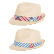 Mens Straw Trilby Hat With Stripe/Check Band