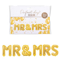 MR And MRS Gold Foil Balloons Pack
