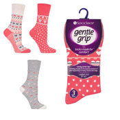 Ladies Gentle Grip Hearts Coral Socks