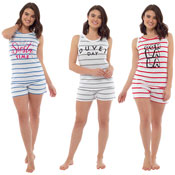 Ladies Shortie Pyjamas Striped Slogan Print