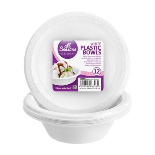 12 Pack Plastic Bowls 15cm
