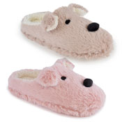 Ladies Soft Fleece Mules Dog Brown/Pink