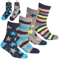 Boys 2 Pack Design Cosy Socks With Grippers