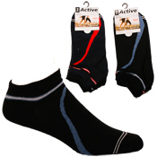 Mens Active Trainer Socks With Stripe