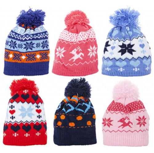 Kids Winter Design Knitted Bobble Hat With Pom Pom