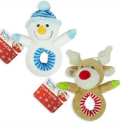 First Steps Christmas Plush Toy Ring Rattle 5""