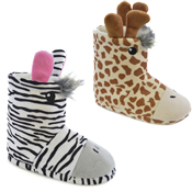 Kids Zebra and Giraffe Bootee Slippers