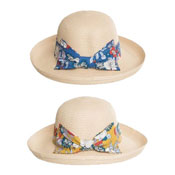 Ladies Natural Straw Fedora Hat With Floral Band