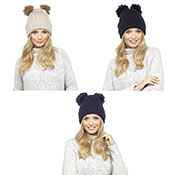 Ladies Chunky Beanie Hat With 2 Fur Pom Pom