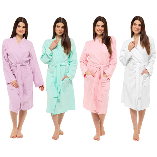 Ladies Pastel Colours Waffle Robe