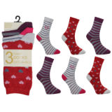 Ladies Fancy Design Ankle Socks Hearts And Stripes