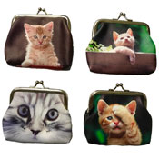 Ladies Coin Purse With Digital Cat Prints