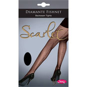 Diamante Black Fishnet Backseam Tights
