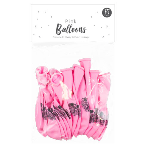 Pink Happy Birthday Balloons 15 Pack