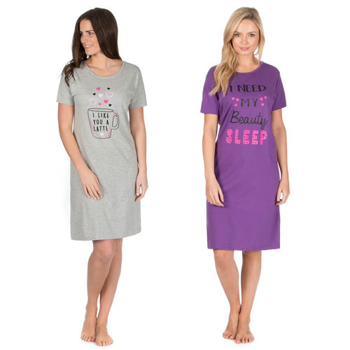 Ladies Slogan Nightdress Sleep/Latte