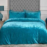 Luxury Crushed Velvet Duvet Set Teal