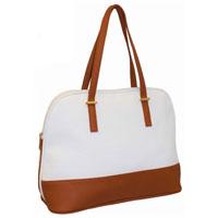 Ladies Contrast Tote Shopper Bag White - Tan