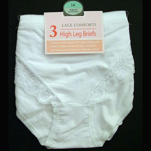 Lace Comfort High Leg Briefs White & Black