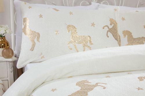 Comfy Fleece Foil Unicorn Duvet Set Cream