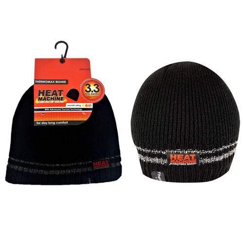 Mens Heat Machine Thermal Hat Black