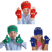 Kids Monster Soft Knit Bobble Hat & Mitten Set