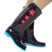 PVC Wellies with Daisy Print Navy/Blue