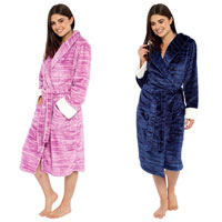 Ladies Marl Fleece Robe With Sherpa Cuffs