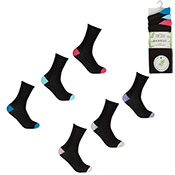 Ladies Bamboo Socks Coloured Heel/Toe
