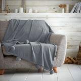 Luxury Pom Pom Throw Charcoal 130 x 180cm
