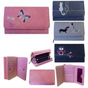 Leather Animal Design Flap Purse