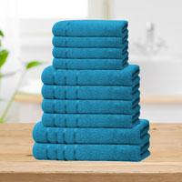 Bear & Panda 10 Piece Cotton Towel Bale Teal