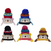 Kids Bear Face Knitted Bobble Hat With Ear Flaps