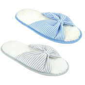 Ladies Striped Soft Open Toe Mule Slippers