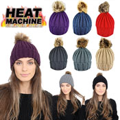 Heat Machine Ladies Natural Pom Pom Hat
