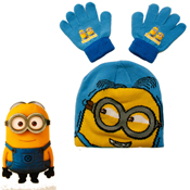 Childrens Minions Beanie Hat and Gloves