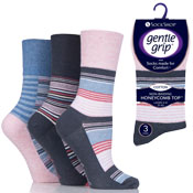 Ladies Gentle Grip Socks Stripes Assorted