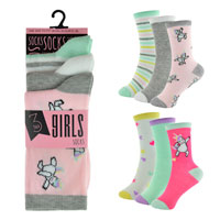 Girls 3 Pack Unicorn Design Socks