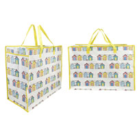 Large Beach Hut Print Laundry / Beach Bag