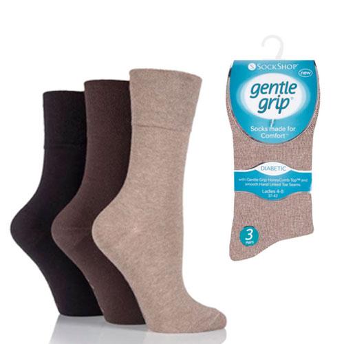 Ladies Diabetic Gentle Grip Socks Brown