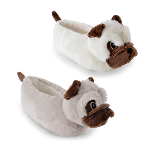 Girls Pug Head Novelty Slippers