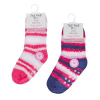 Baby Girls 2 Pack Stripe Cosy Socks With Grippers