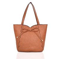 Bow Detail Tote Bag Tan