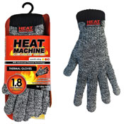 Mens Heat Machine Thermal Gloves Grey